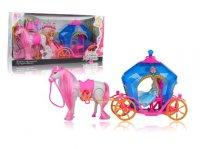 Карета син. с куклой, лошадью и аксесс, кор. со светом и звуком, батарейки