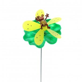 Декор садовый лягушка на цветке с пропеллером, штекер 60 см, микс цвета