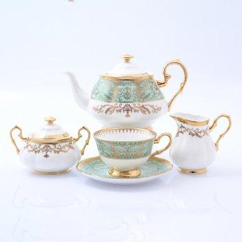 Чайный сервиз на 6 персон 17 предметов clarice light green