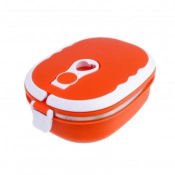 Ланч-бокс (внутри металл), 1 тарелка металлическая гастрономия, цвета микс