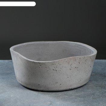 Горшок цветочный бонсай квадрат бетон, графит, 6,7 л