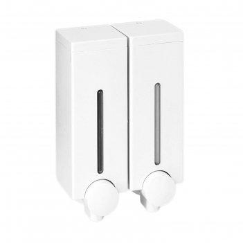 Дозатор для мыла slim, 2х450 мл, двухсекционный, цвет белый