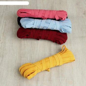 Резинки эластичные, 10 мм, 10 ± 1 м, 5 шт, цвет микс