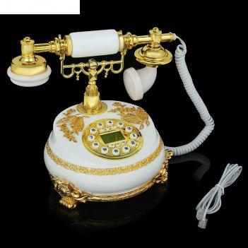 Телефон ретро полистоун, круг с узором из лепнины бабочка золото, белый 18