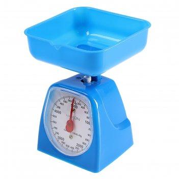 Весы кухонные luazon lvkm-501, механические, до 5 кг, чаша 1200 мл, синие