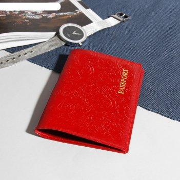 Обложка для паспорта пионы, тиснение, красный глянцевый