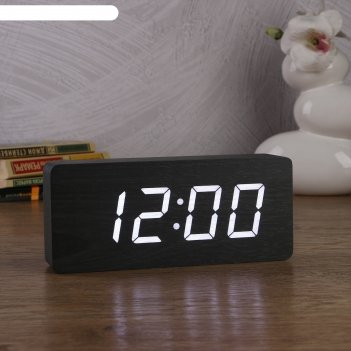 Часы-будильник электронные, с термометром, белые  цифры, 21х9х5 см