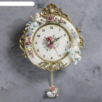 Часы настенные серия маятник розы и ангелы, цвет сгущ молоко, лепнина, 22х
