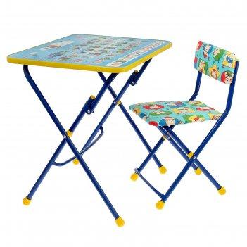 Набор детской мебели никки. азбука складной: стол, стул мягкий, цвета стул