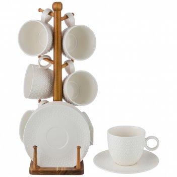 Чайный набор на 6 персон 12 пр. на деревянной подставке объем чашки= 250 м