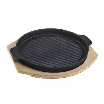 Сковорода чугунная 22 см круг. рельеф на подставке