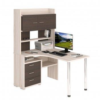 Стол компьютерный «ср 133» с надстройкой, 1010 x 1300 x 1750 мм, левый, ка