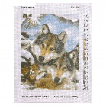 Канва схема для креста «семья волков»
