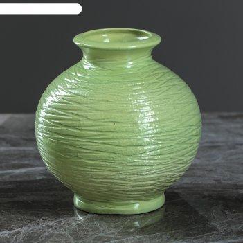 Ваза малая шарик зеленая, 13 см