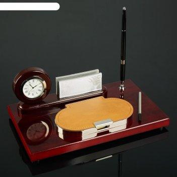 Набор настольнй 4в1: часы, подставка под визитки, ручка, блок с бумагой