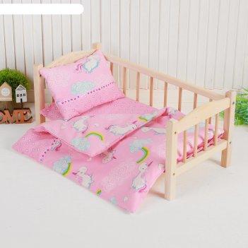 Кукольное постельное единорог на розовом простынь,одеяло,46*36,подушка 23*