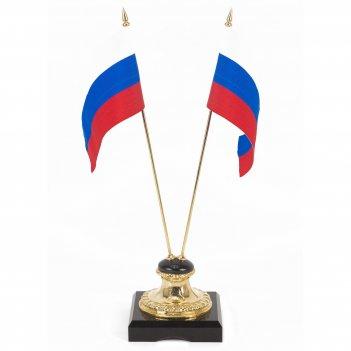 Подставка два флага долерит бронза 90х90х325 мм 900 гр.
