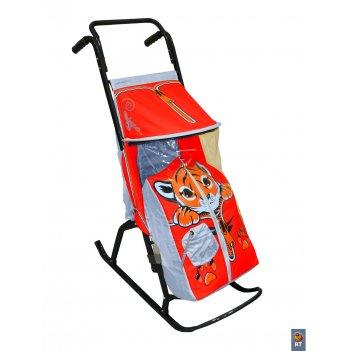Санки-коляска снегурочка-2-ртигренок сер-красн