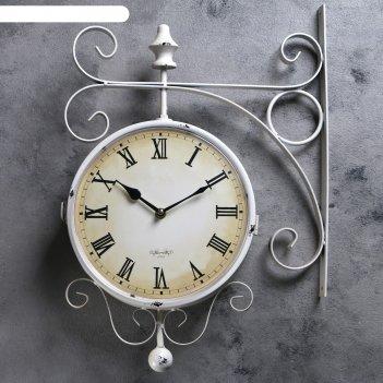 Часы настенные двойные, серия: садовые, мерано, белые, d=24 см, 46х29 см