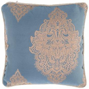 Подушка декоративная купрум 40х40см,100% п/э,голубой.