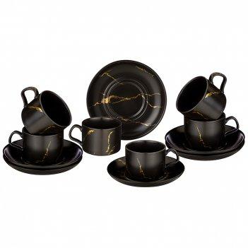 Чайный набор на 6 персон коллекция золотой мрамор объем чашки 250 мл