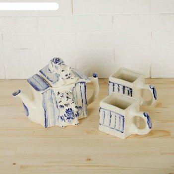 Набор чайный будка чайник+2 кружки гжель