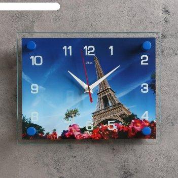 Часы настенные прямоугольные эйфелева башня, 20х26 см