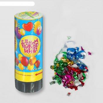 Хлопушка пружинная с днем рожденияшарики (конфетти+ фольга серпантин) 11см