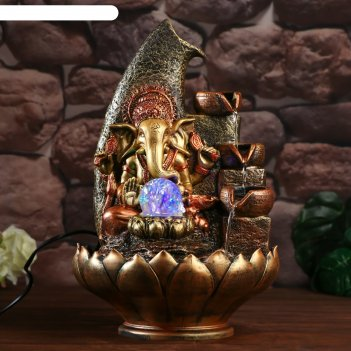 Фонтан настольный от сети, подсветка ганеша с чашами красно-золотой 40х25х