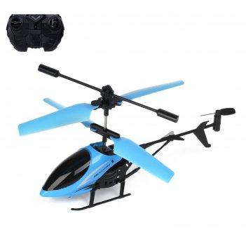 Вертолёт радиоуправляемый «крутой вираж», световые эффекты, цвет голубой