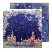 Бумага для скрапбукинга ретро кремль 29.5 х 29.5 см 160 гр/м2
