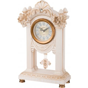 Часы настольные кварцевые с маятником белые цветы 26,5*12*45,5 см. диаметр