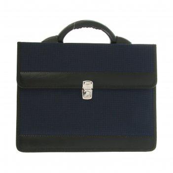 Портфель деловой «приморск», 350 х 260 х 10 мм, ткань, синий
