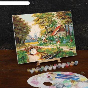 Картина по номерам на холсте домик в лесу, 40*30 см