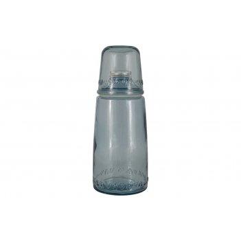 Бутылка для воды 1л со стаканом 0,22 л natural water, голубые