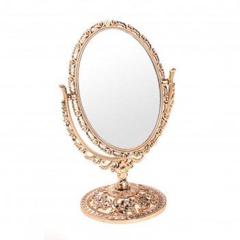 Зеркало настольное сюрприз, овальное, двухстороннее, с увеличением, цвет б