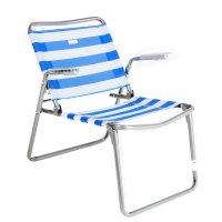 Кресло-шезлонг складное, размер 430х380х330 мм, цвет бело-синий, сетчатая