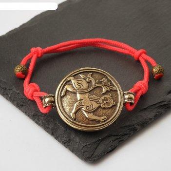 Браслет-шнурок на красной нити могучий лев (латунь) (власть, достаток, уст