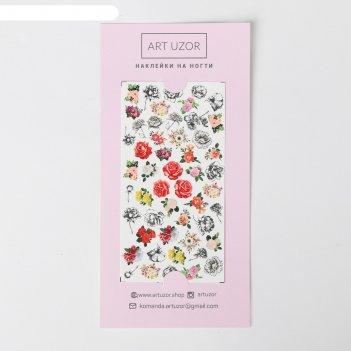Наклейки для ногтей flowers, 10 x 16,5 см