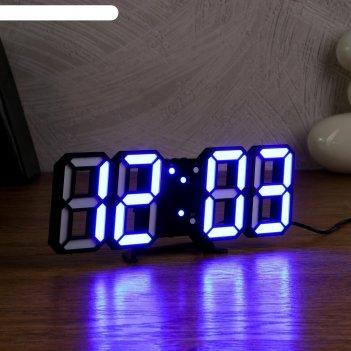 Электронные часы-будильник «цифры» (цифр. синие), дата,температура, от сет