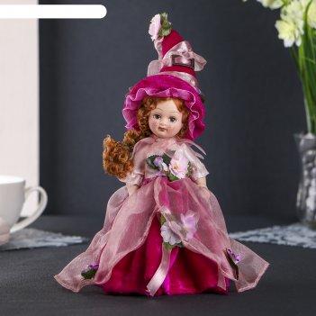 Кукла керамика коллекционная флора в малиновом платье 24 см