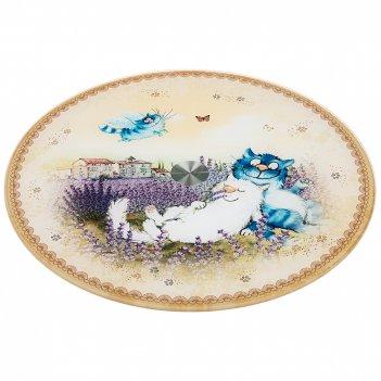 Тортовница вращающаяся синие коты. лаванда диаметр=32 см.высота=3 см.(кор=