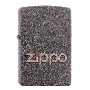 Зажигалка zippo, латунь с покрытием iron stone™, серая с фирменным логотип