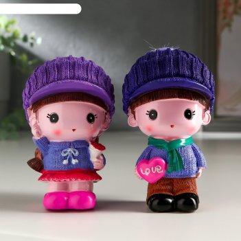 Сувенир полистоун малыш/малышка в сиреневой кепке набор 2 шт 9,5х5,8х5,5 с