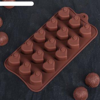 Форма для льда и шоколада «сердцеедка», 15 ячеек, цвет шоколадный