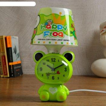 Часы-светильник весёлая лягушка, с будильником, 3 aa. от сети, дискретный