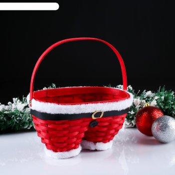 Корзина «новогодние штаны», красные, 23x12x13/23 см, шпон