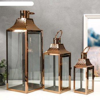 Подсвечник металл, стекло фонарь точки медь н-р 3 шт 55х18х18 37,5х14,5х14