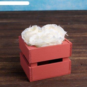 Ящик-кашпо двушка, сердний, малиновое, 11х12х9см