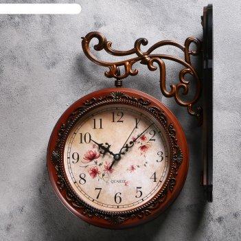 Двойные настенные часы «цветы», круглые, крепление-дерево, d=19 см
